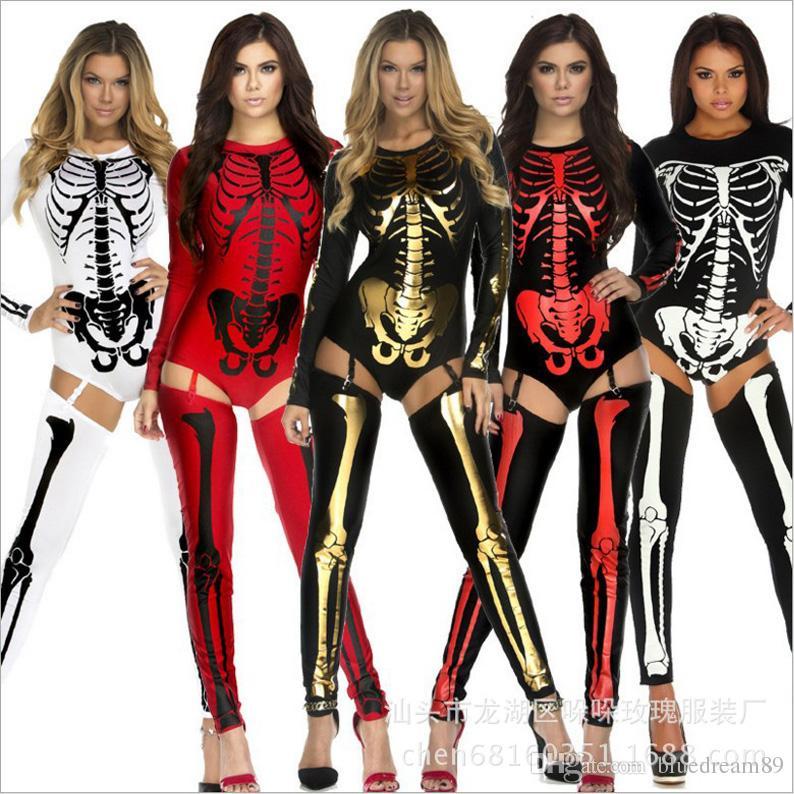 Acquista Regina Streghe Donna Halloween Costume Sexy Vampiro Halloween  Cosplay Costume Da Santa Costumi Donne Adulto Scheletro Zombie Uniformi  Spettacolo ... 8d0da5a5f577