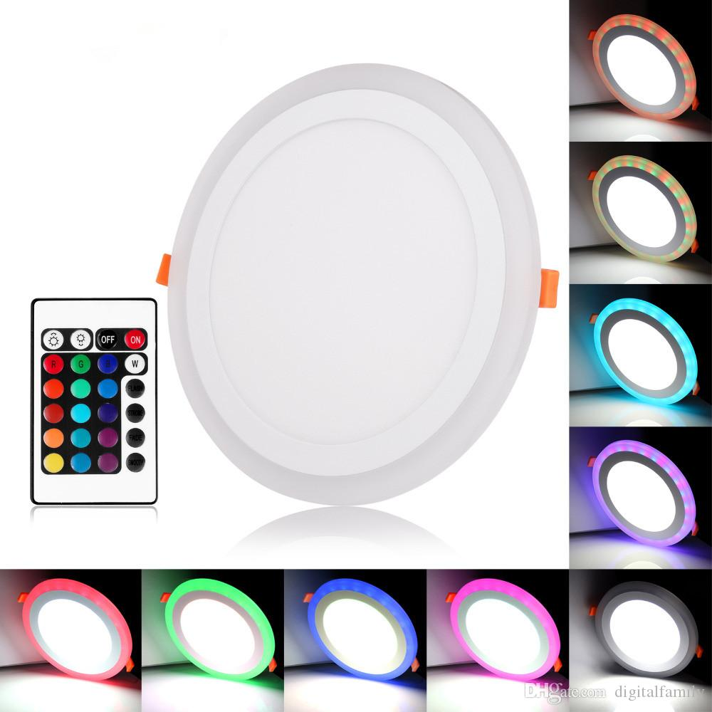 2018 ultra slim embeded round led panel light 3w 6w 12w 18w dual color red blue pink rgb and. Black Bedroom Furniture Sets. Home Design Ideas