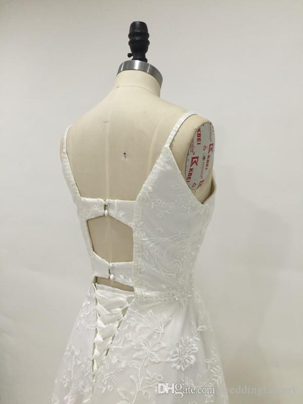 Imagen real Vestido de boda de encaje de encaje Cuentas de país Lentejuelas Spaghetti Straps Tallado en V Corsé Corsé Lace Up Hollow Back Back Batas de novia