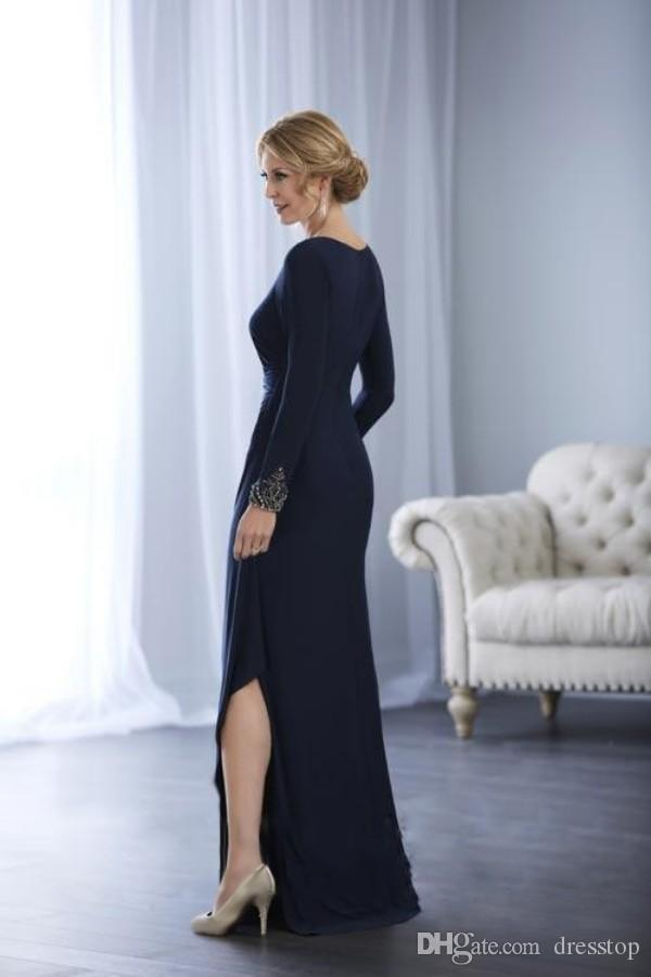 Elegant Dark Navy Mother Of The Bride Dresses Split Long Sleeves Wedding Guest Dress Beaded Party Evening Gown 2017 Fall