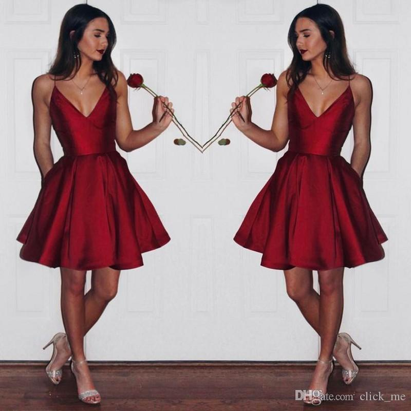 356ab5de766a Dark Red Short Party Dresses Deep V Neck A Line Satin Cheap Homecoming Dress  Low Back Sexy Short Prom Gowns Girls Formal Wear Sexy Christmas Party  Dresses ...