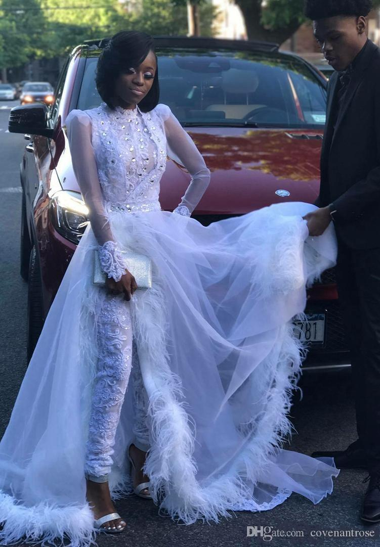 Unique Black Girl Prom Dresses With Detachable Tulle Train Jumpsuit Party Gowns Long Sleeve Crystal Lace Top See Through Pageant Dress
