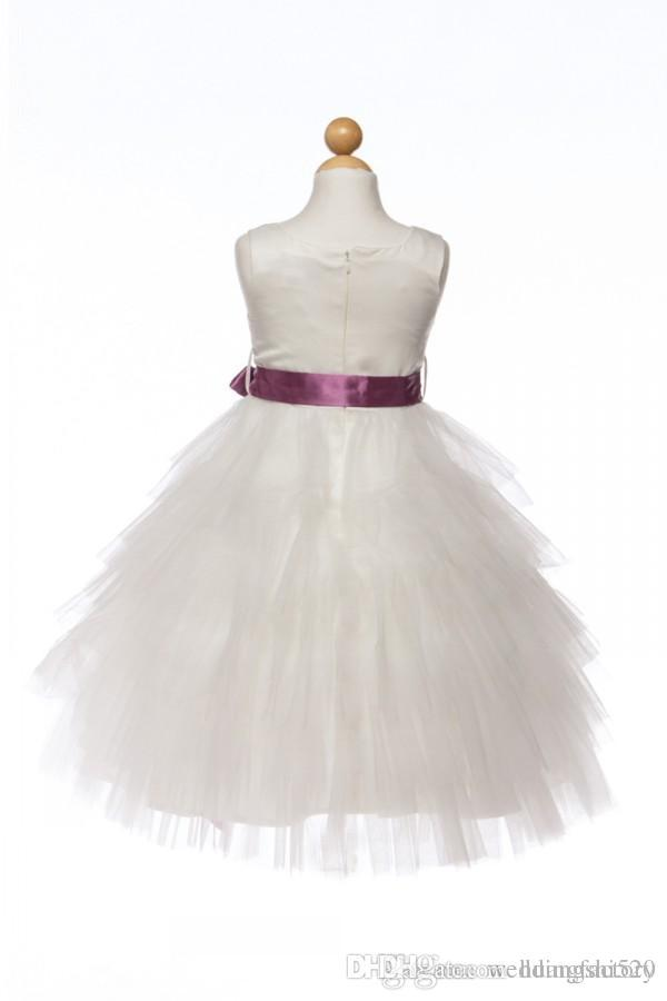Lovely Flower Girl Dresses 2015 A Line Tea Length Girls Wedding Party Dress Pageant Gowns with Bateau Neck Tiered Tulle and Sash