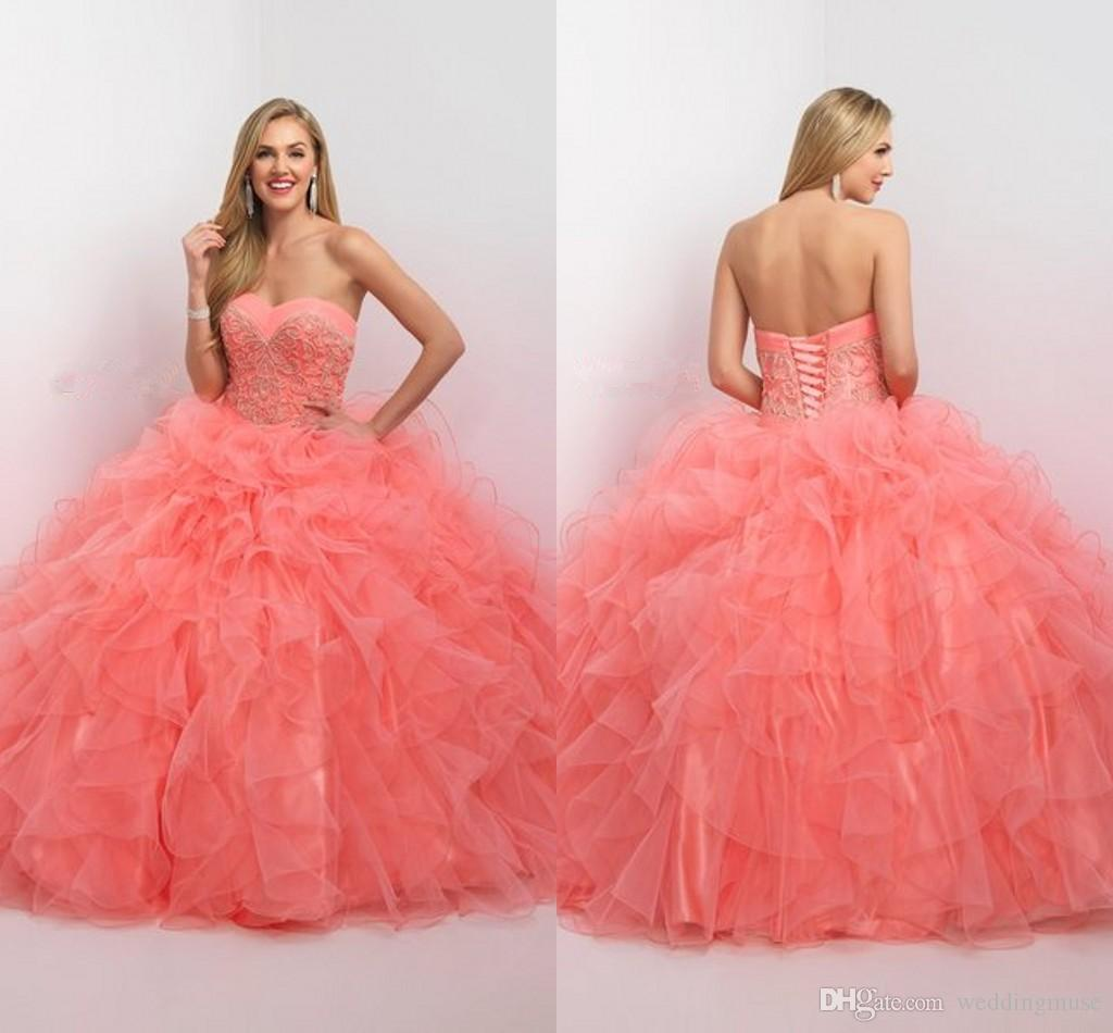 6ae54f24cab Hot Blush Coral Ball Gown Princess Quinceanera Dresses Sweetheart Tiered  Ruffle Skirt Backless Sweet 16 Long Prom Dresses Mary Quinceanera Dresses  Modern ...