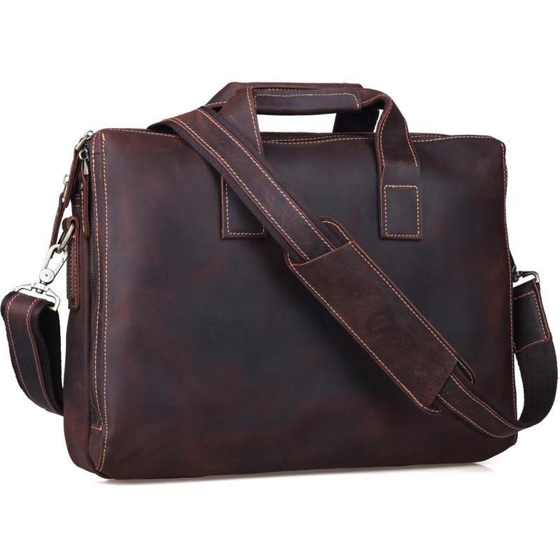 832a7dadb1 Wholesale Business Cowhide Leather Briefcase 14 Inch Laptop Bag Mens Top  Handbag Vintage Soft Brown Satchel Messenger Shoulder Bag Tiding Business  Bags For ...