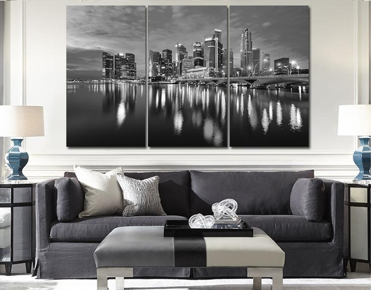 Style combination painting 3 panel big size top sell modern wall hanging painting black and white