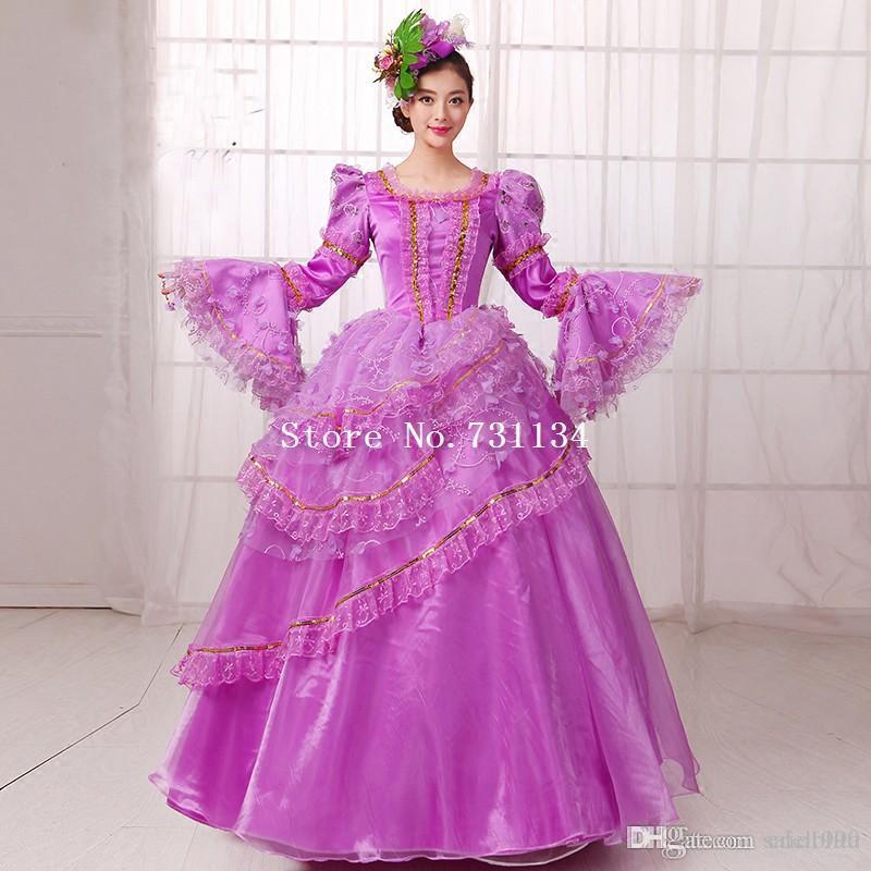 Compre Vestido A Estrenar De Encaje Púrpura Muliti Layer Princess ...