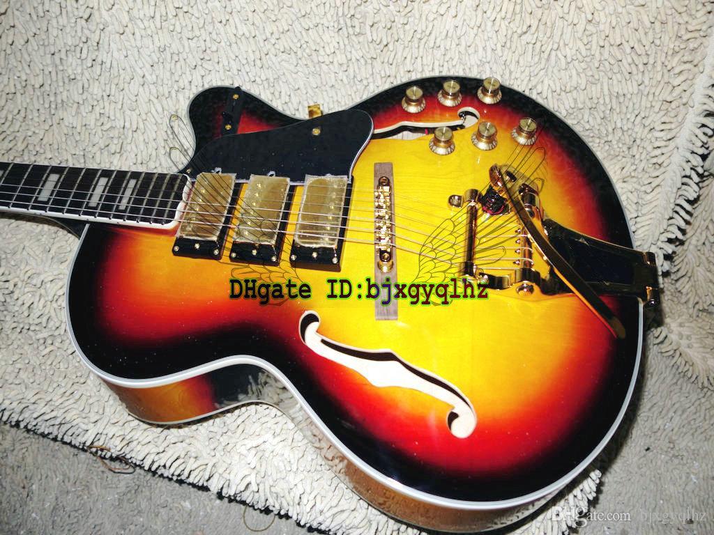 new arrival sunburst hollow l 5 guitars 3 pickups jazz electric guitar gold hardware oem cheap. Black Bedroom Furniture Sets. Home Design Ideas