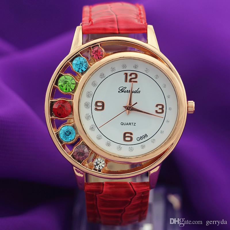 !PVC leather band,gold plate round case,7 big crystal deco case,quartz movement,Gerryda fashion woman lady quartz watches,698