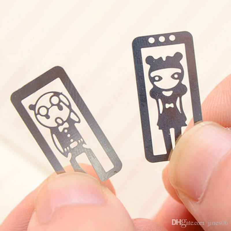 100 unids / lote Mini Metal Marcador Clips Lindo de Dibujos Animados Animal Flor de Dibujos Animados Plateado Marcadores Book Book Line Marcador Papelaria
