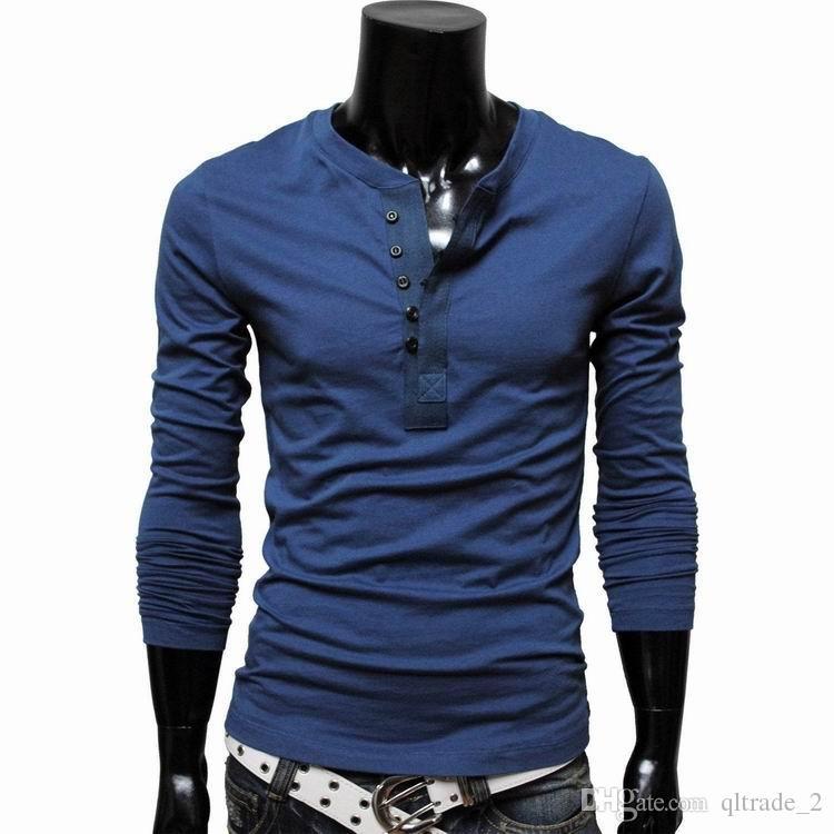 2016 망 둥근 목 - 긴팔 티셔츠 단색 셔츠 옆을 터 놓은 부분 한국 슬림 피트 캐주얼 셔츠