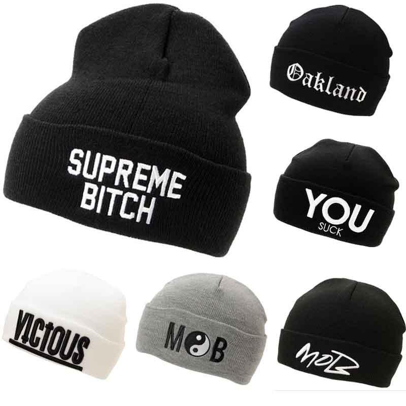 6c148ab7403 2016 New Winter Beanies MOB SUPPE ME BITCH Oakland Hats Hip Hop Cotton  Knitted Hat Caps Casual Skullies Hip Hop Men And Women Black Baseball Cap  Knitted ...