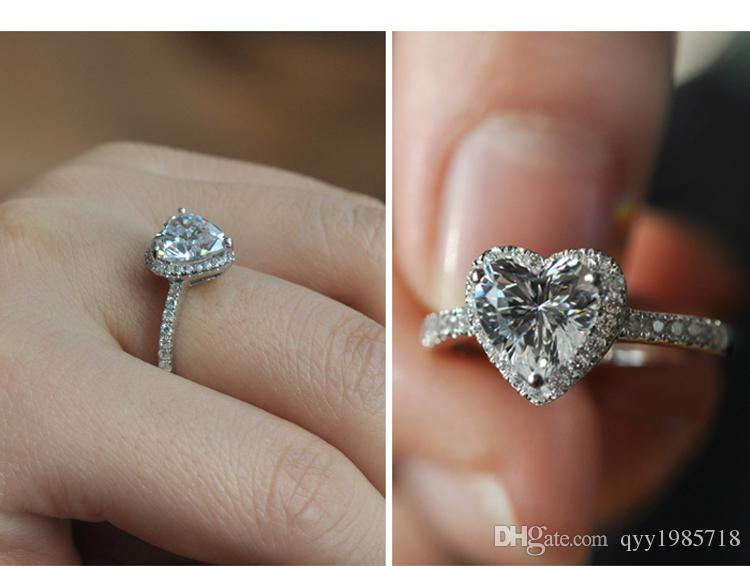 2CT Heart Shape Prong Setting Brand Synthetic Diamond Ring 925 Sterling Silver Wedding Jewelry 18K Drop Shipping Engagement Ring