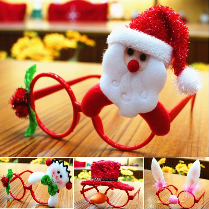 Christmas Decoration Glasses Frame 6 Color Multi Pattern Santa Claus Snowman Deer Bear New Year Decoration Kids Children Gift