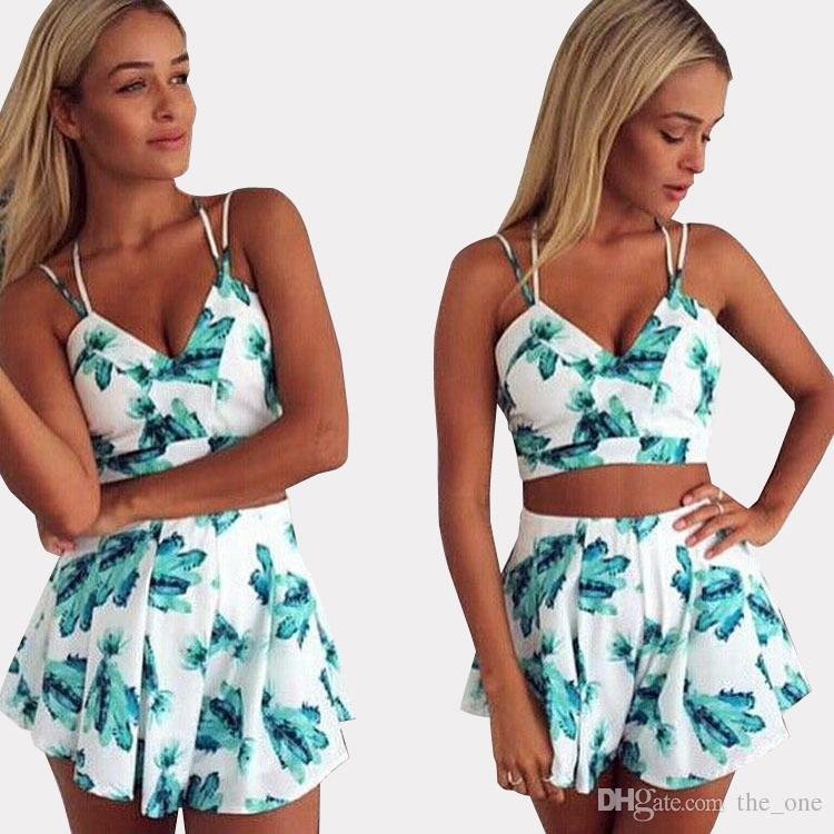 5fa9a8f68e PrettyBaby Women Bodycon Dress Summer Floral Crop Top Skirt Set Skirt  Shorts Woman High Waist Flower Swimsuit Beach Wear Women Bodycon 2 Piece  Short Sets ...