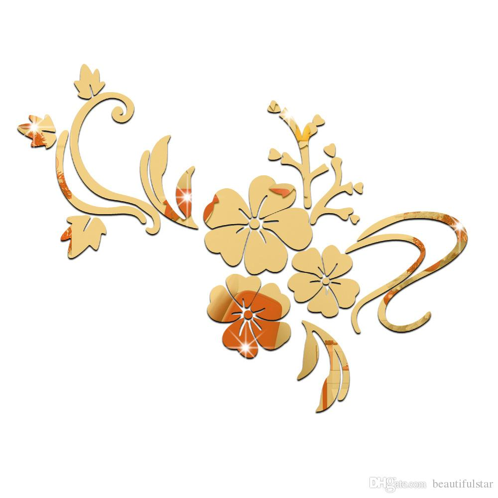 romantic flower vine smooth mirror wall stickers bedroom tv romantic flower vine smooth mirror wall stickers bedroom tv background beautify hall perspective acrylic wall stickers decorations circle wall stickers