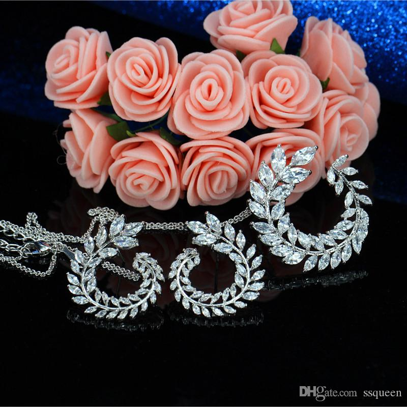 High quality 18k white gold plated brilliant clear white CZ diamond Wheat shape fashion jewelry necklace earring set