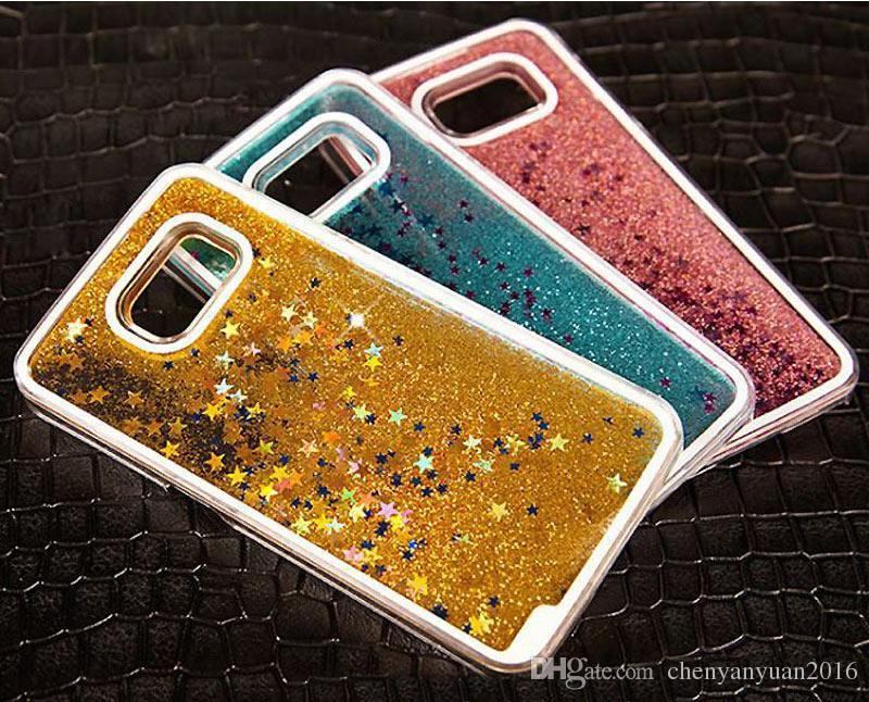 Glitter Stars Dynamic Liquid Quicksand Custodia rigida Samsung Galaxy Grand Prime A5 A7 S5 S6 Bordo S7 Nota 3 4 5