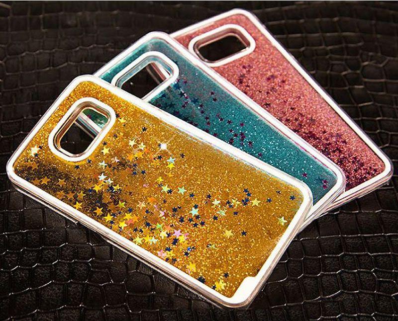 Glitter Stars Dynamic Liquid Quicksand Hard Phone Case For Samsung Galaxy Grand Prime A5 A7 S5 S6 S7 Edge Note 3 4 5