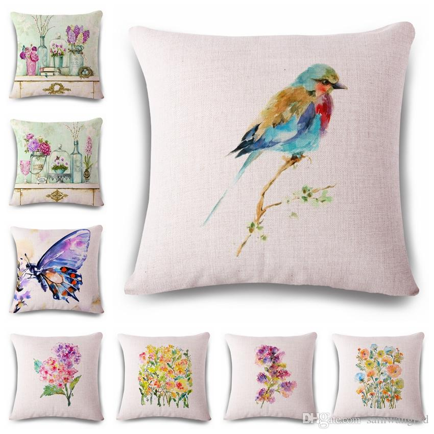 Cushion Cover Oil Painting Bird Butterfly Pillow Case Cotton Linen Cool Decorative Throw Pillows With Birds