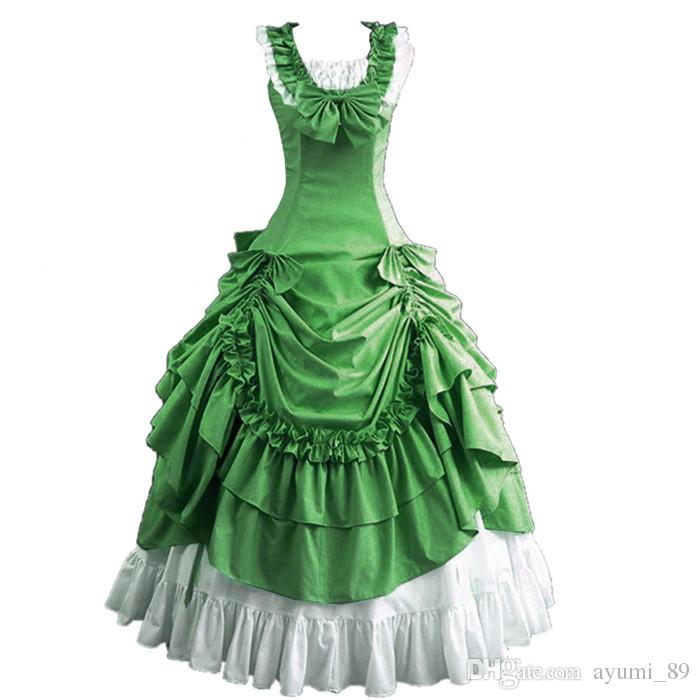 Green Halloween Costumes for Women Adult Southern Victorian Dress Ball Gown Gothic Lolita Dress Plus Size Customized