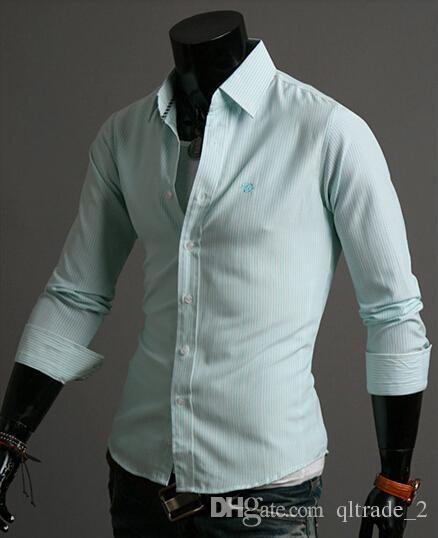 Fresco vestido listrado camisa bordada coreano Slim moda masculina camisa de manga comprida camisas bonito