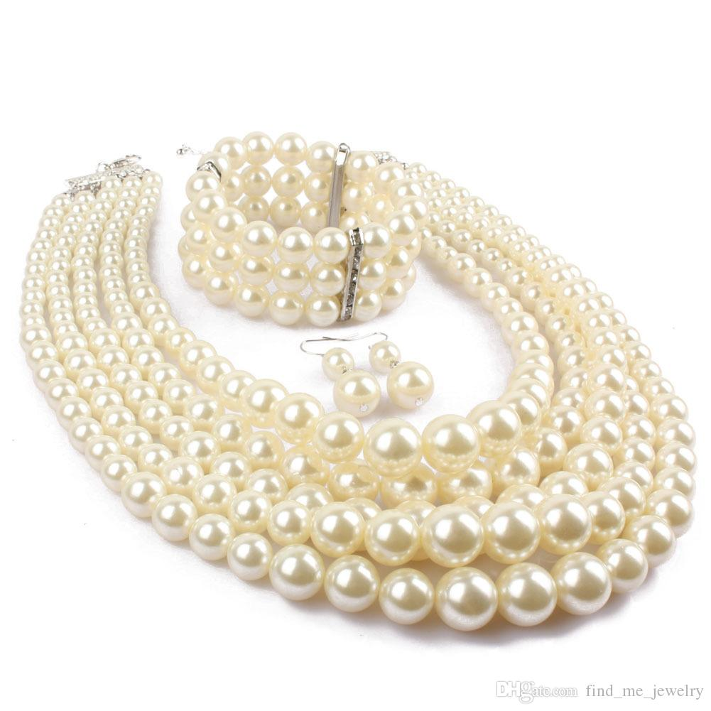 Red Imitation pearls Bridal Jewelry Sets Fashion Wedding Gift Classic Ethnic Luxury Collar Choker Necklace Bracelet Earring Sets for Women