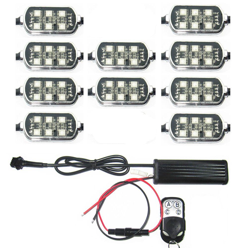 Remoto 10 Pods Multi-Color Accent Brilho Neon Kit de Luz LED Universal para Truck Car Motorcycle Boat