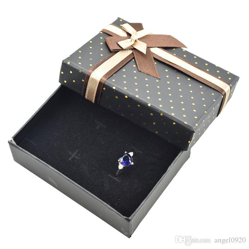2018 The New Jewelry Ring Earrings Polka Dot Gift Box Black dotted gold polka dot jewelry box