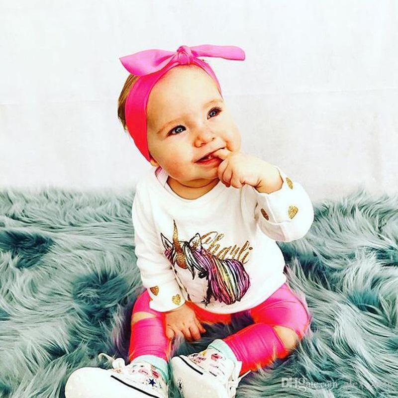 2017 Conjuntos de Bebê Nas Meninas Outono T-shirt Do Bebê + Calças Compridas + Big Bow Headbands Define Crianças Roupas Unicorn Polka Dot Ouro impressão