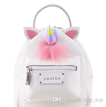 Korean Style Pu Unicorn Backpack Cartoon Colorful Unicorn Shoulder