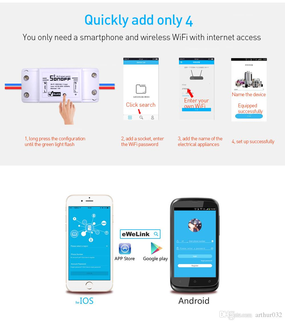 Sonoff wifi الذكية اللاسلكية التبديل التحكم عن أتمتة التتابع وحدة العالمي diy المنزل الذكي domotica جهاز 10a 220 فولت ac 90-250 فولت