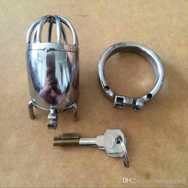 NOUVEAU Small2020 nouvelle serrure design 70mm Cage Longueur en acier inoxydable super petit mâle Chastity Devices 1.6