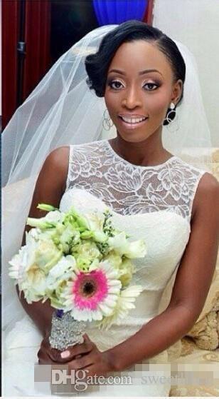 African African Custom Made 2019 Sexy Illusion Jewel Neck robes de mariée sirène robes de mariée de filles noires Plus la taille dentelle robes Vintage