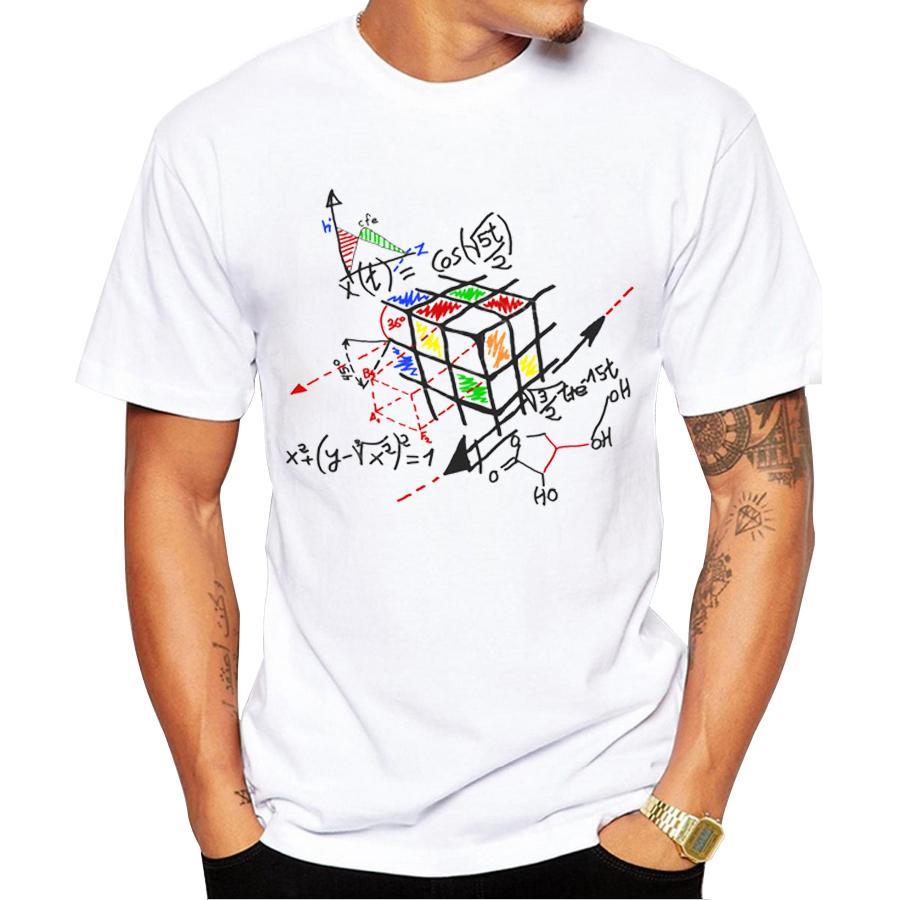 Compre 2017 Nueva Moda Matemáticas Trabajo Diseño Hombres Camiseta De Manga  Corta Hipster Tops Cubo Rubik Impreso Camisetas Camiseta Fresca A  8.12 Del  ... f9e8b60e305
