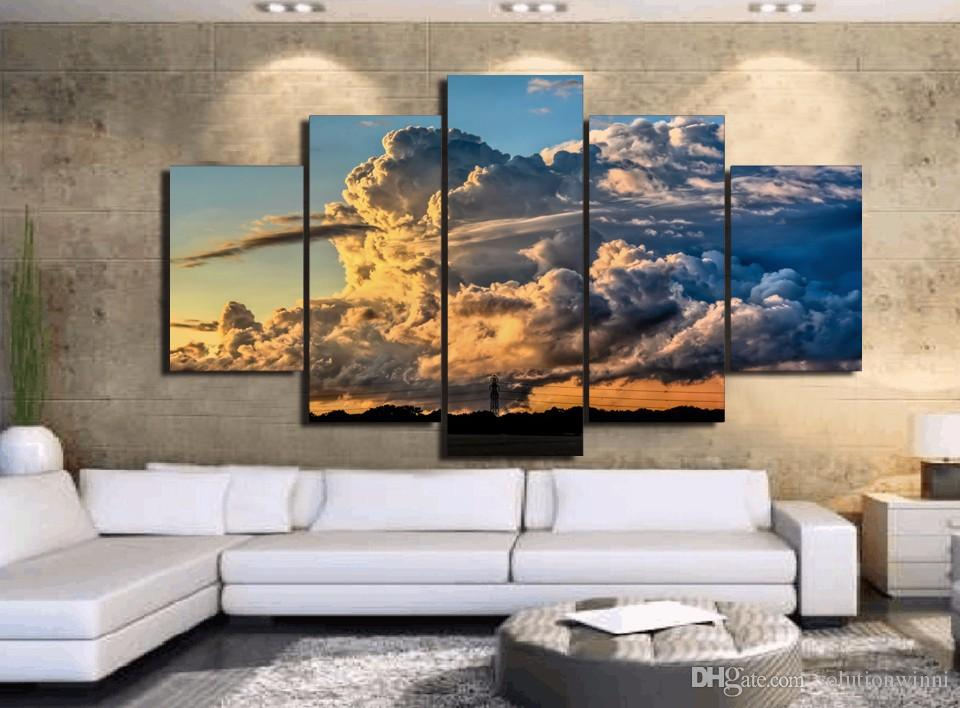 HD Printed storm rain clouds sunset tornadoes Painting Canvas Print room decor print poster picture canvas oil painting