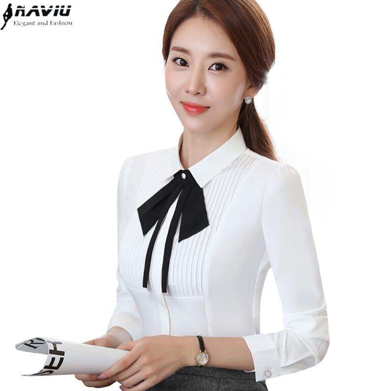 90a10d25410 2019 New Elegant Women Shirt OL Temperament Formal Long Sleeve Slim Bow Tie Chiffon  White Shirt Office Ladies Plus Size Work Wear Top From Erindolly360b