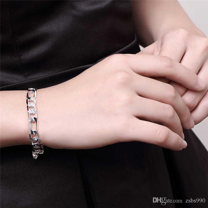 De haute qualité en argent sterling 925 plaqué Figaro chaîne bracelet 8MMX20CM mode homme bijoux prix bas en gros livraison gratuite