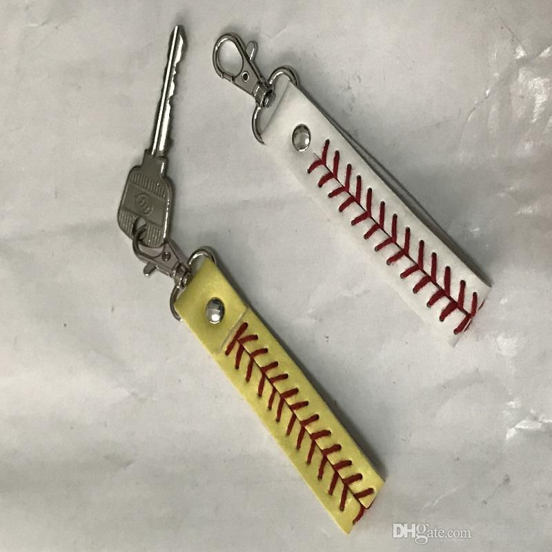 Leather Key Chains Team Softball Baseball Headbands Stiches Hair Bands Seamed