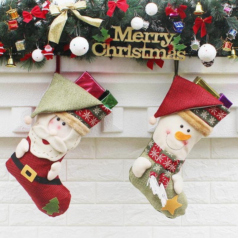Large Size Christmas Stocking Cute Snowman Santa Hanging Bag Decor Christmas Tree Decoration Children Gift Christmas Candy Bag