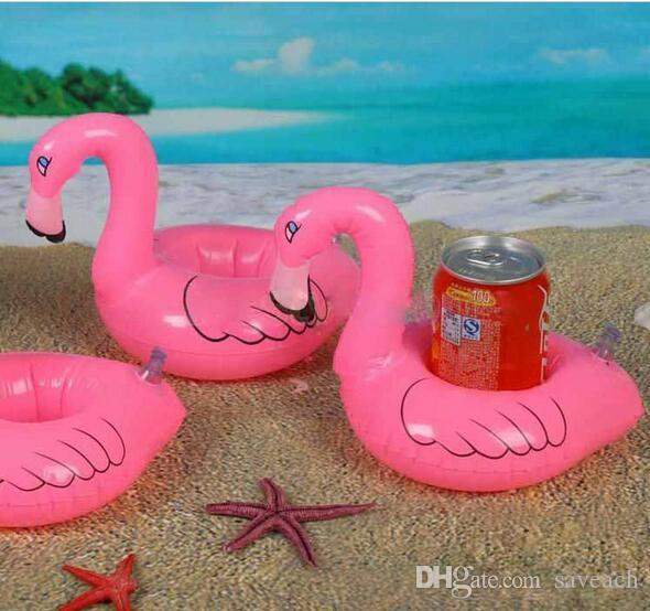 Flamingo PVC Inflatable Drink Bottle Holder Lovely Pink Floating Bath Cola cup Holder Kids Sand Play toy Christmas Gift