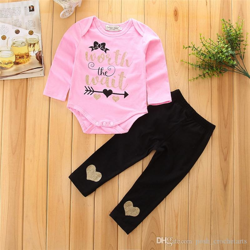 79c22ae0e 2019 Christmas Baby Girl Clothes For Sale Worth The Waits Newborn Baby Girl  Clothing Sets Infant Jumpsuits With Pants Xmas Baby Outfits From ...