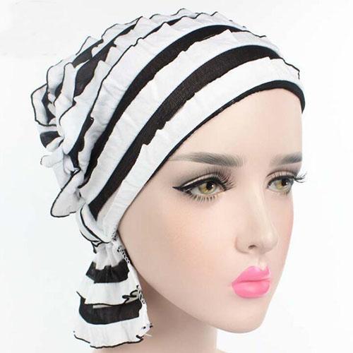 Neue Mode Frauen Falten Ruffle Chemo Hut Beanie Schal Turban Headwear für Krebs