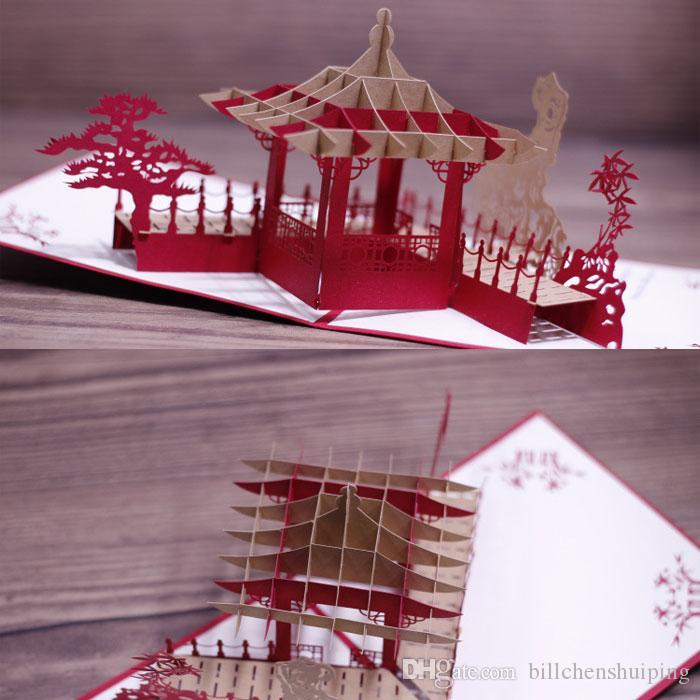 Chinese scenery gardens 3d greeting card handmade lotus creative chinese scenery gardens 3d greeting card handmade lotus creative kirigami origami 3d pop up travelling greeting gift cards birthday cards funny birthday m4hsunfo