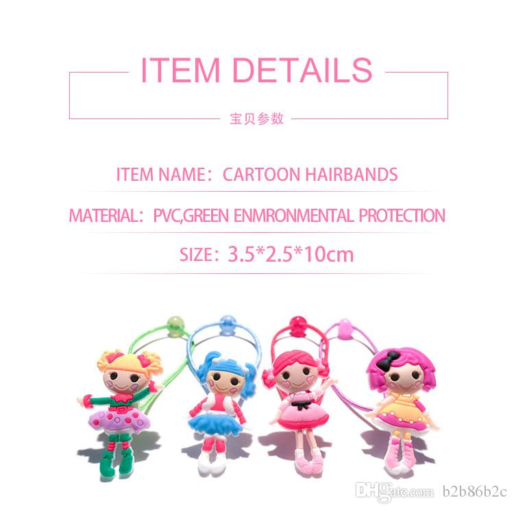 Retail Lalaloopsy Girl Cartoon Girls Hairbands Cute Headwear Hair Accessories PVC+Elastic Bands Kid Gift Party Favors Hair Jewelry
