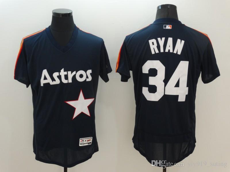 44693ba86f3 ... 2017 New Houston Astros Jersey Mens 34 Nolan Ryan Navy Blue Throwback  Pullover Cooperstown Flexbase Collection ...