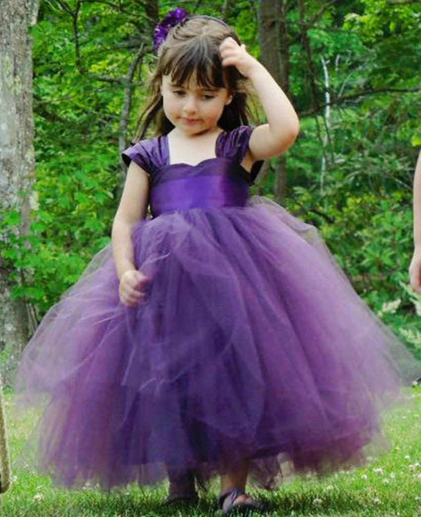Pretty Flower Girls Dresses For Weddings Party Cap Sleeves Ruched