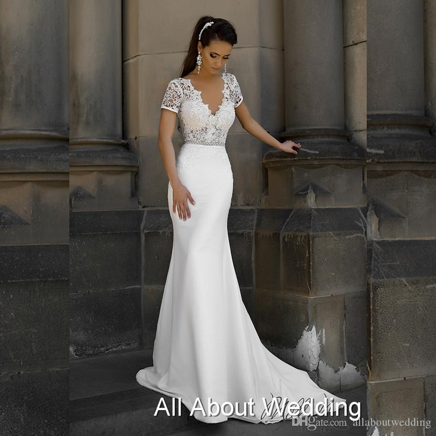 Short Sleeve V Neck Lace Sheath Wedding Dresses Low Back Satin Lace