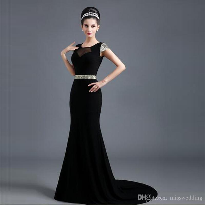 Short Sleeve Black Elegant Evening Dresses Scoop Neck Mermaid Design ...