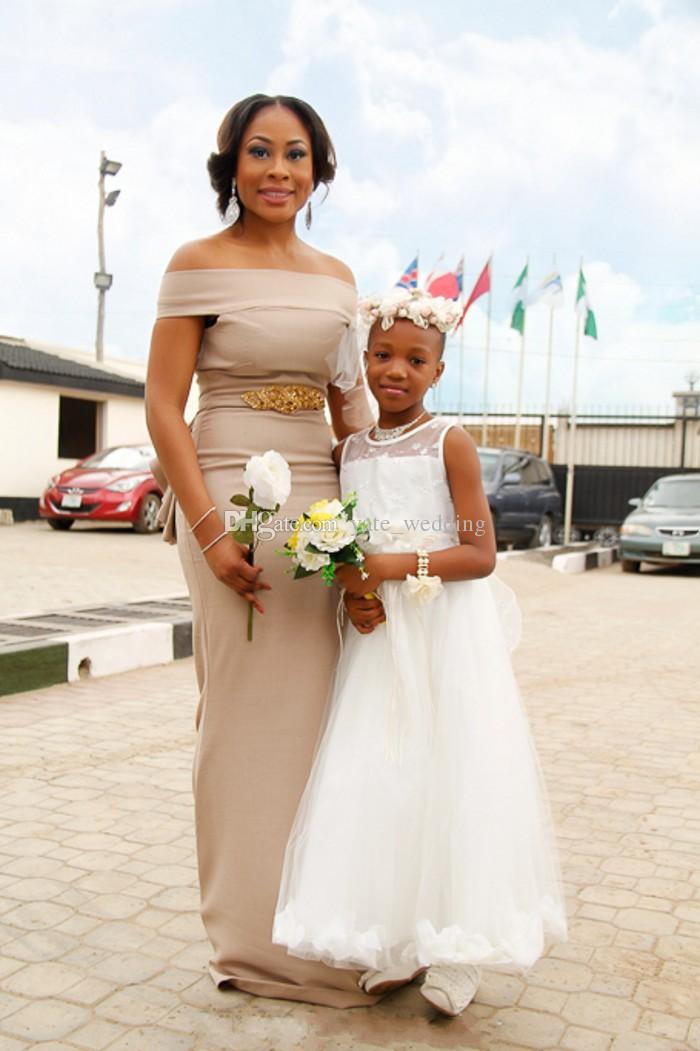 2018 Newest Champagne Satin Mermaid Bridesmaid Dresses Bateau Crystal Aso Ebi Style Wedding Guest Dresses African Nigerian Maid Of Honor